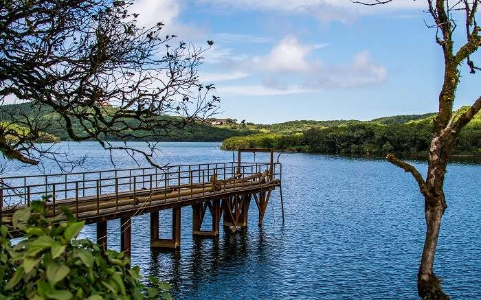 A beautiful old bridge on a lake