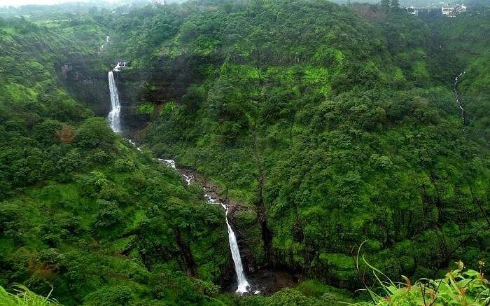 A beautiful waterfalls amid beautiful green jungle