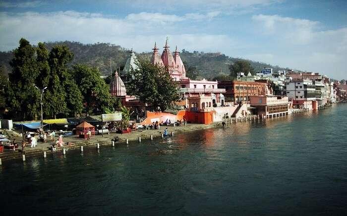 A distant view of Vishnu Ghat in Haridwar