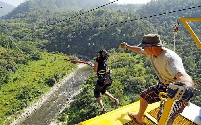 A person bungee jumping in Rishikesh