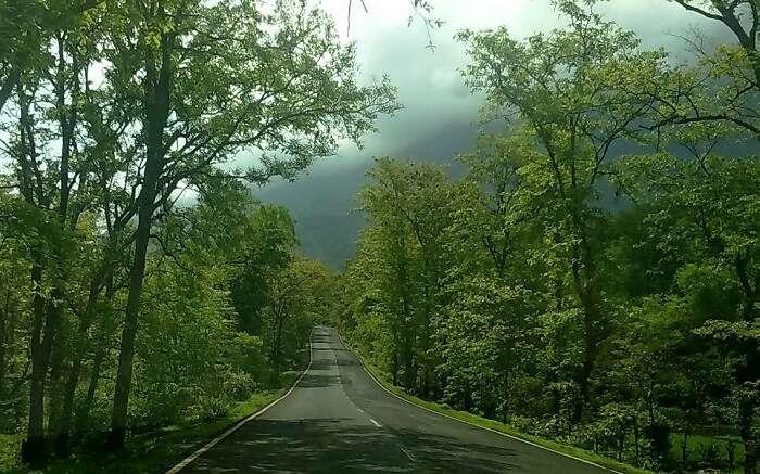 A road amid misty mountain