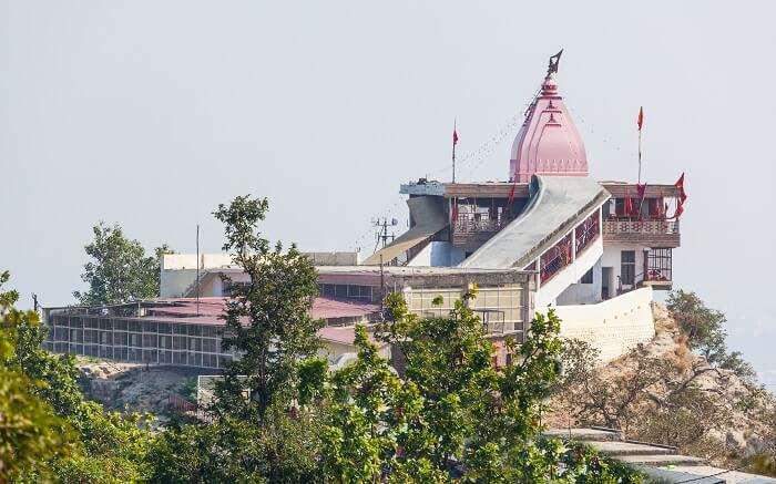 A view of Chandi Devi Temple in Haridwar overlooking Haridwar