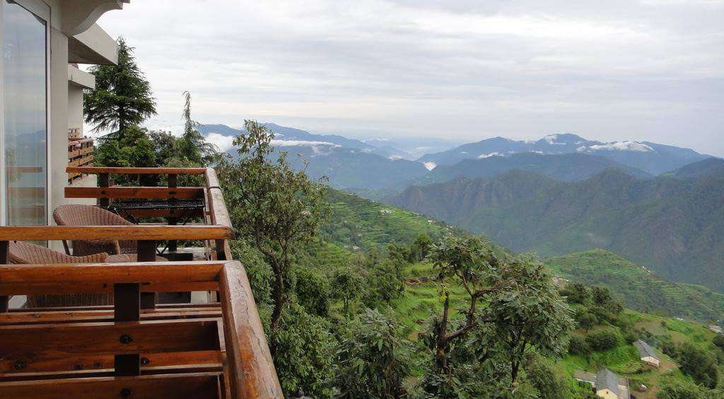 beautiful views of mountains from a balcony