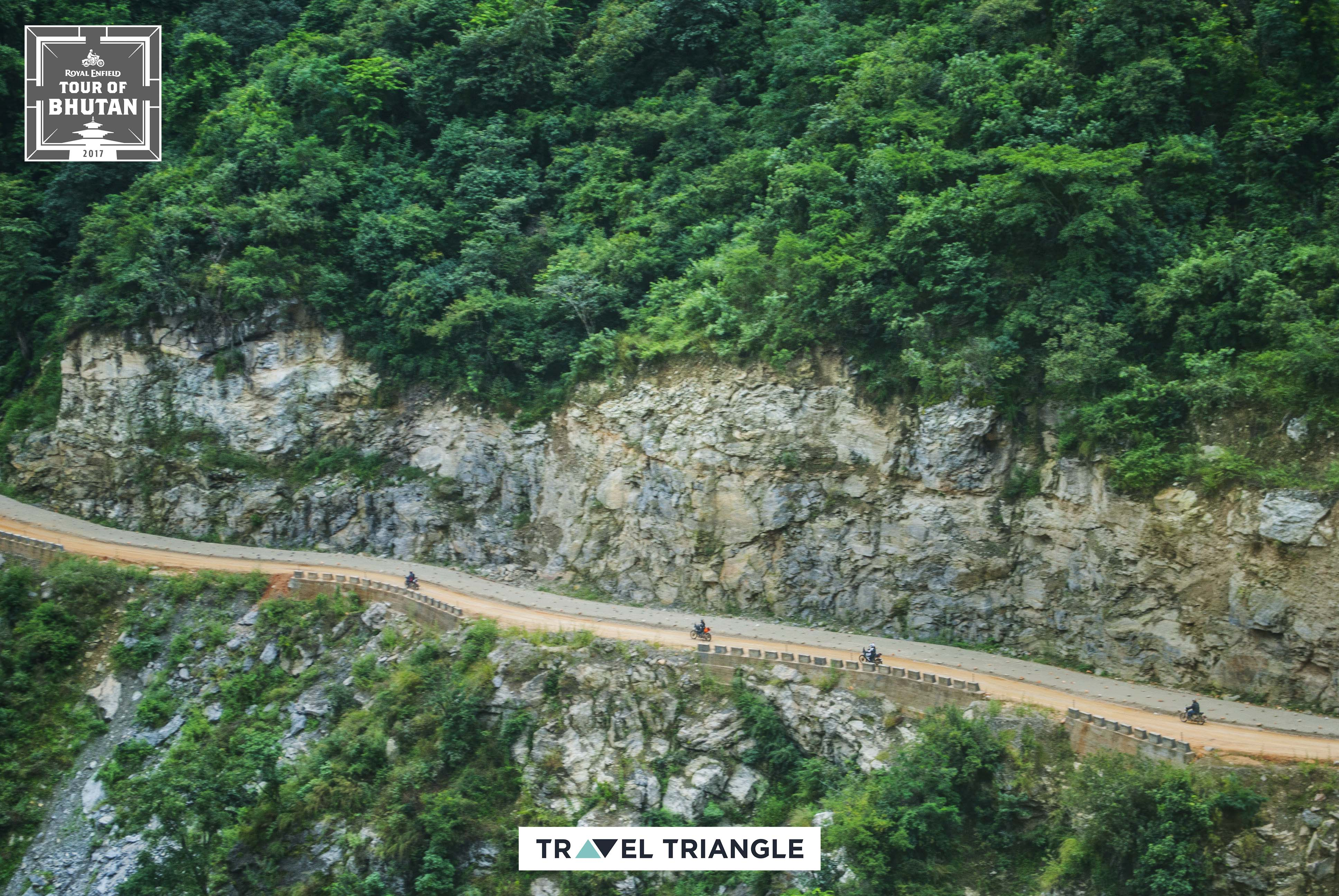 Mongar to Trashigang: aerial views of the riders riding off
