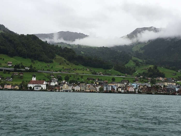 Panoramic view of alps during lake Lucerne cruise
