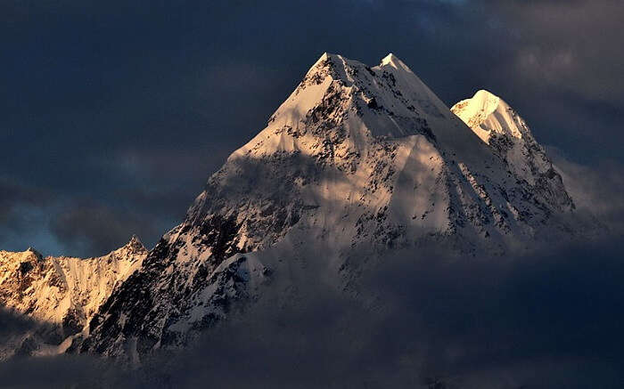 Snowcovered mountain peaks