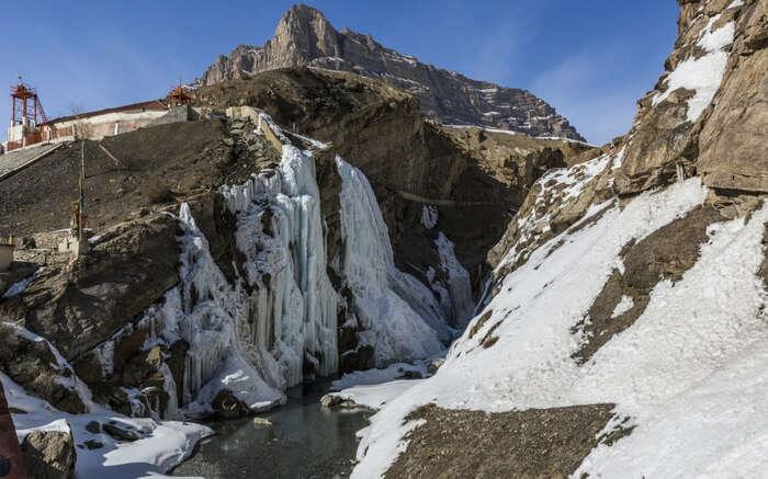 A view of frozen waterfall in Spiti