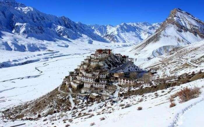 The top view of Ki Monastery in Spiti