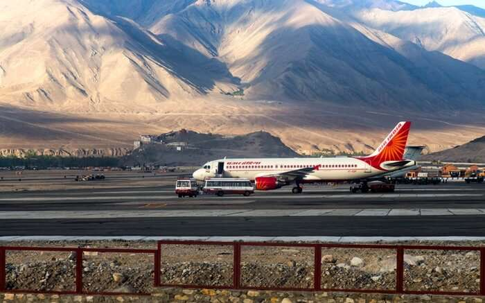 A plane right before the take off at Kushok Bakula Rimpochee Airport in Leh