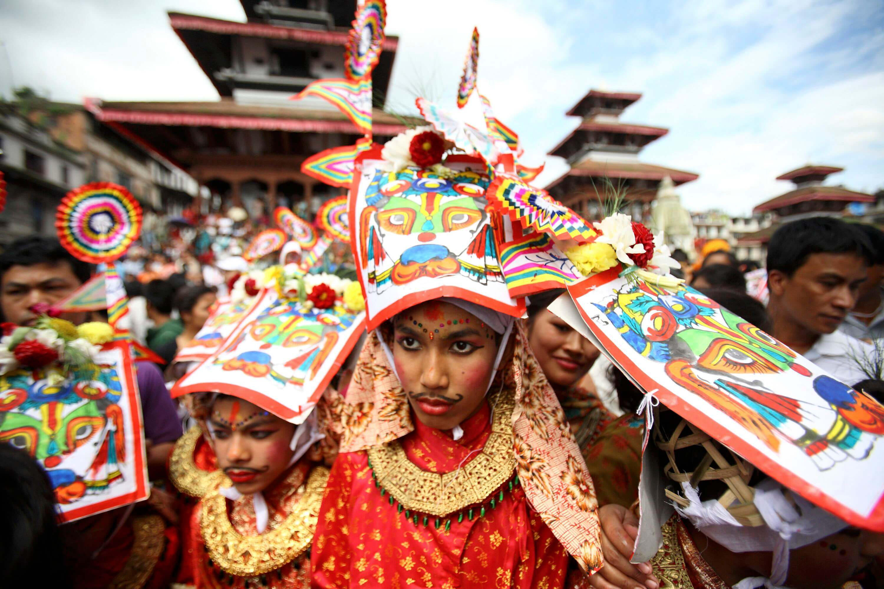 kids dressed in traditional clothes