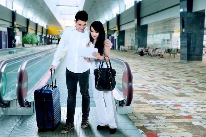 indian couple at airport