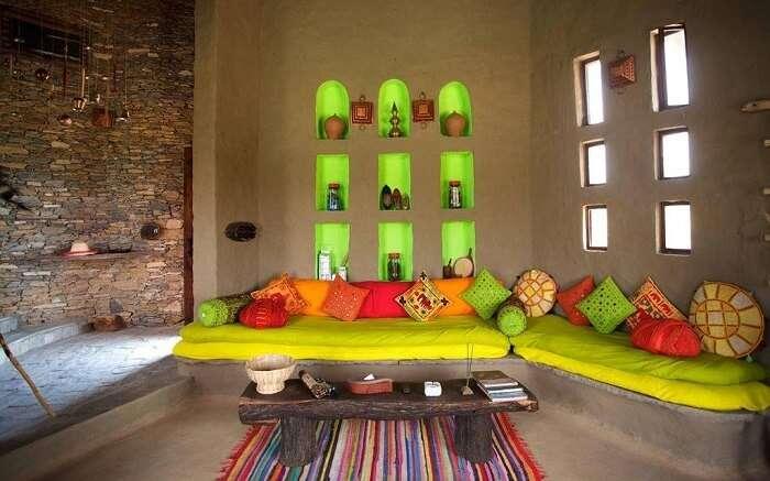 Colorful sitting area in Lakshman Sagar Resort