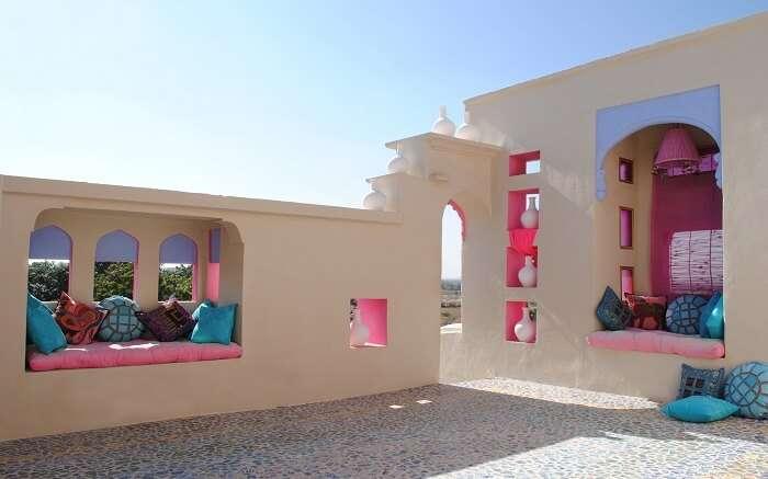 Colorful terrace of Lakshman Sagar Resort