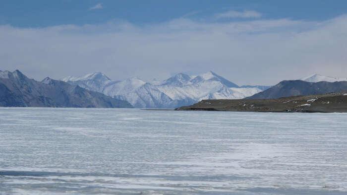 Frozen Pangong Lake during Winter