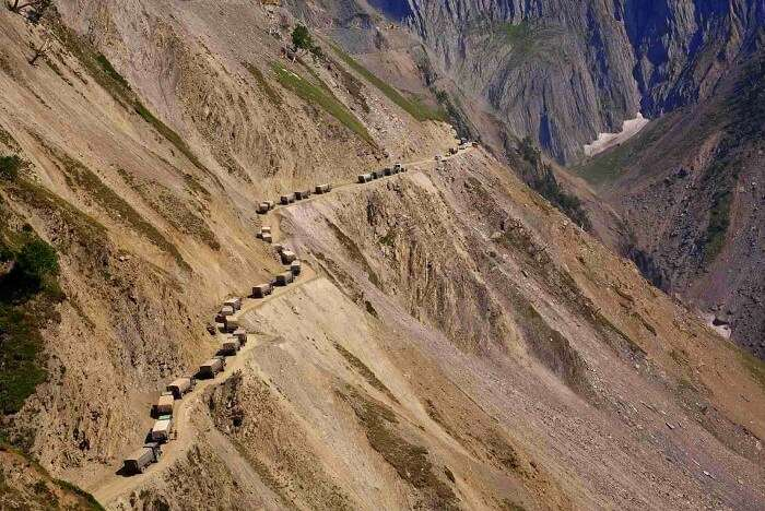 Highest Motorable Road In The World with trucks moving on them