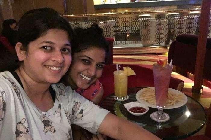 saurabhi singapore family trip: saurabhi with sister in cruise