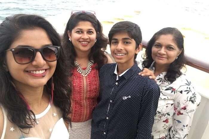 saurabhi singapore family trip: saurabhi's sister posing in cruise with family