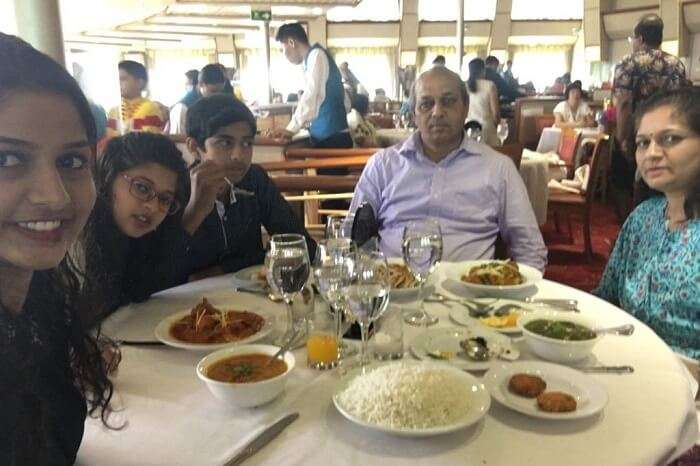 saurabhi singapore family trip: family dining in cruise