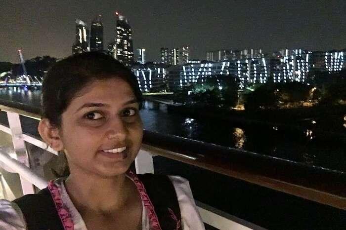 saurabhi singapore family trip: saurabhi's sister posing in cruise at night