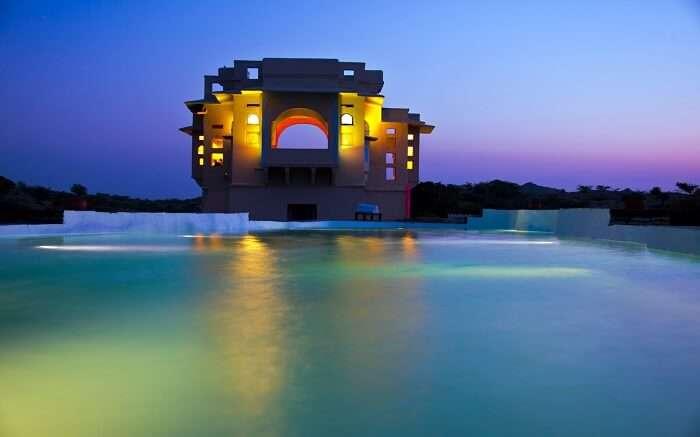 Lakshman Sagar Resort lit up in evening