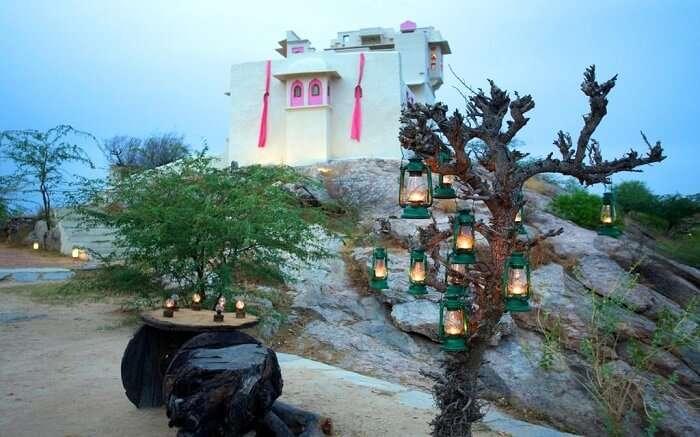 Lakshman Sagar Resort with lamps