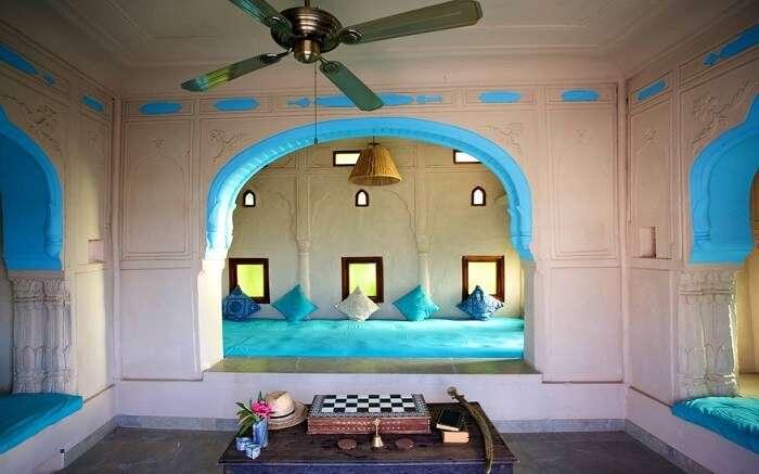 Sitting area in Lakshman Resort painted in blue