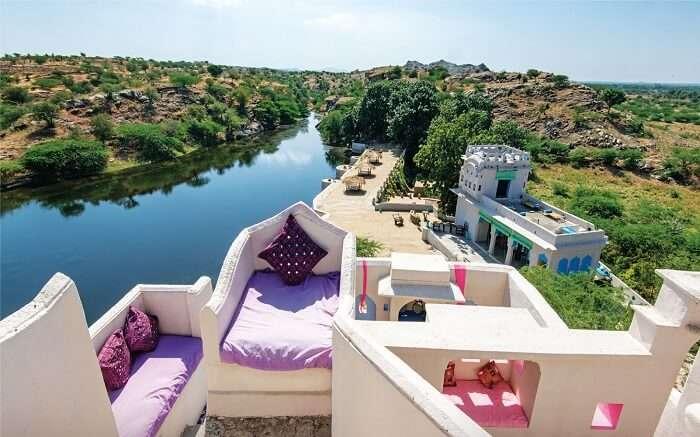 Sitting area of Lakshman Sagar Resort
