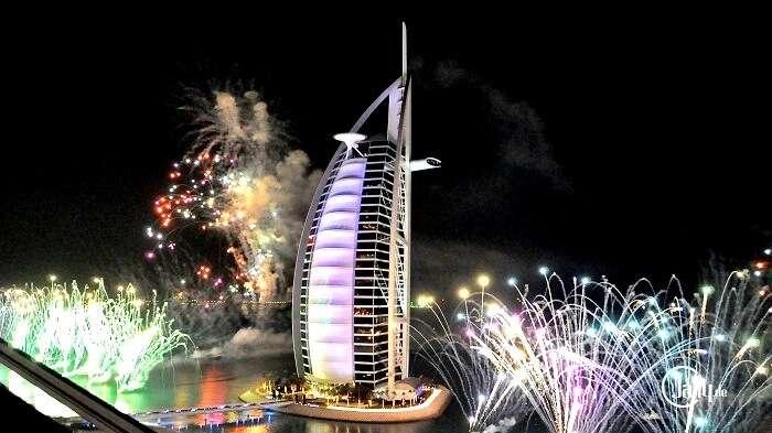 fireworks at burj al arab new year