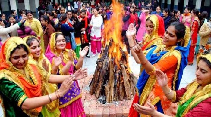 women celebrating lohri in india