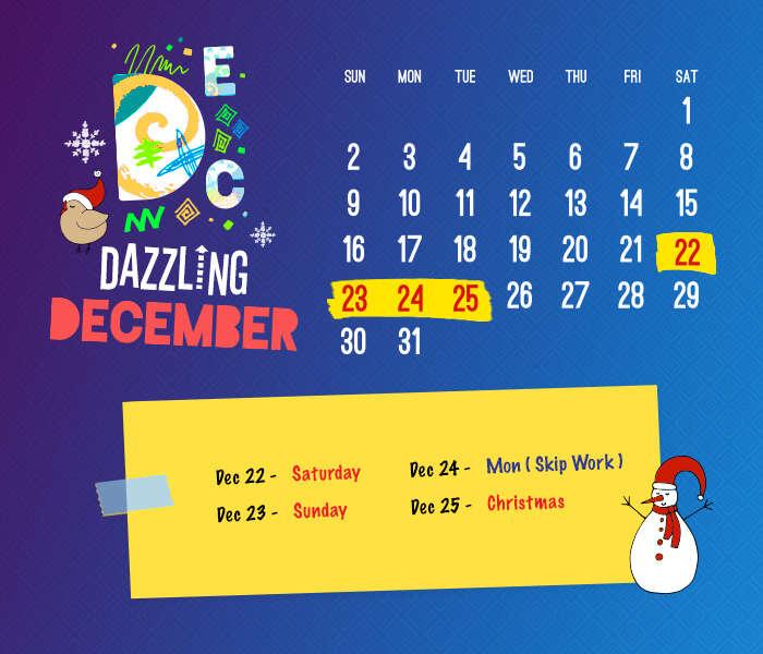 long weekend calendar 2018: December