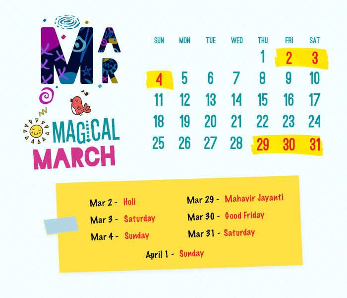 long weekend calendar 2018: March