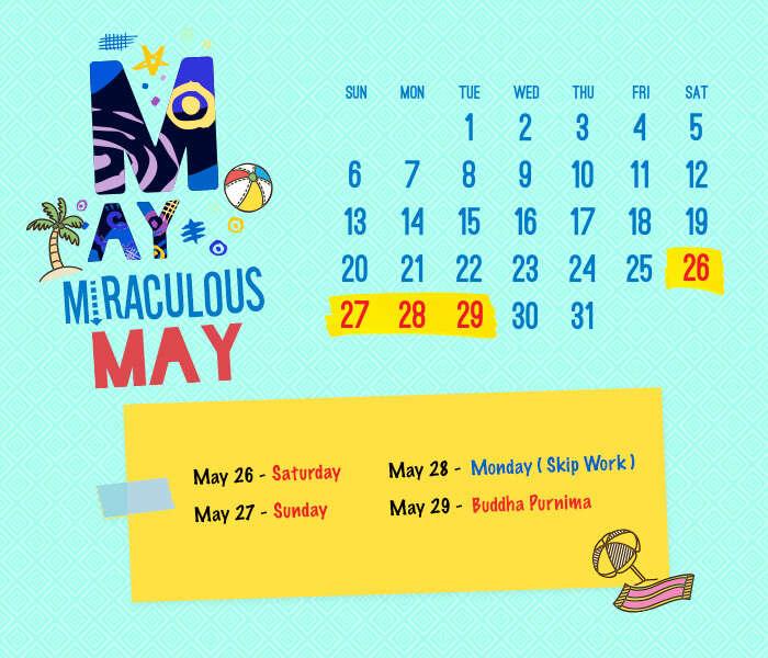long weekend calendar 2018: May