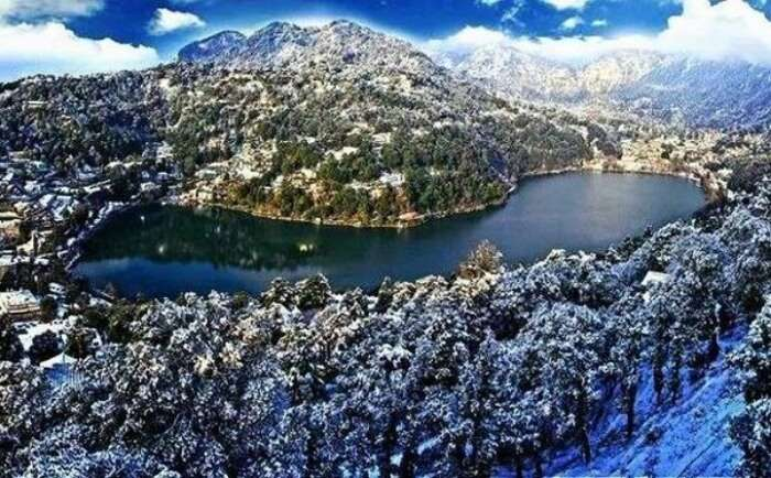 View of Nainital covered in snow