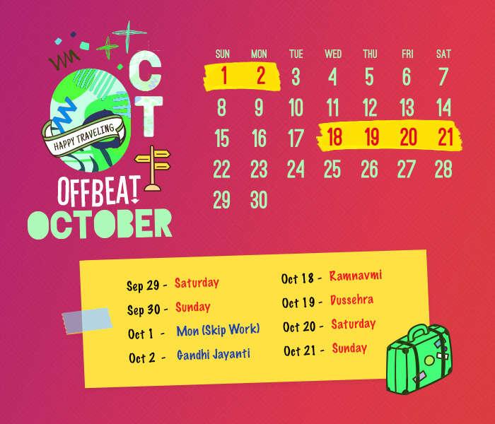 long weekend calendar 2018: October