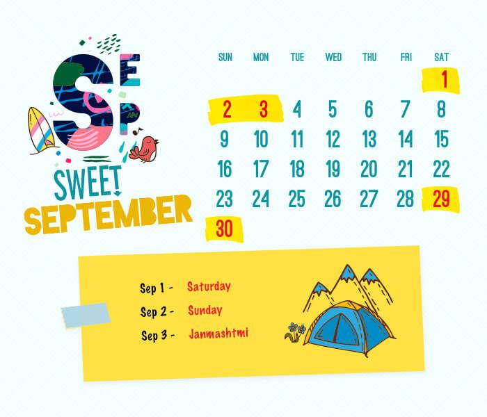 long weekend calendar 2018: September