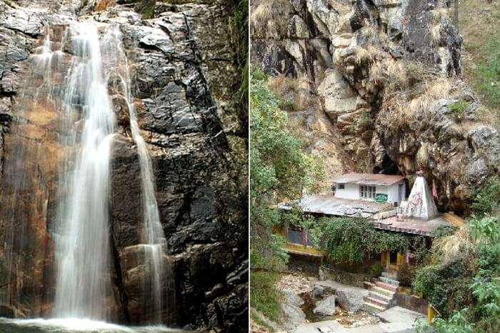 A view of Rudradhari Falls and caves in Kausani