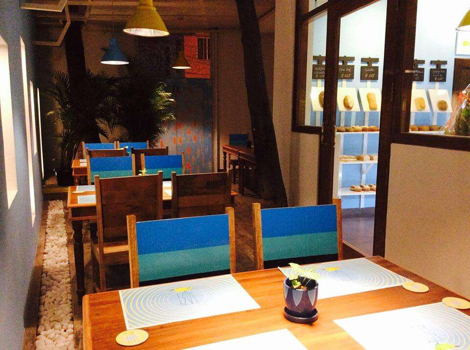 blue decor of Lazy Suzy cafe in Bangalore