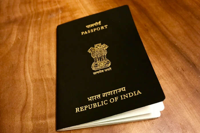 Existing Indian passport in blue color
