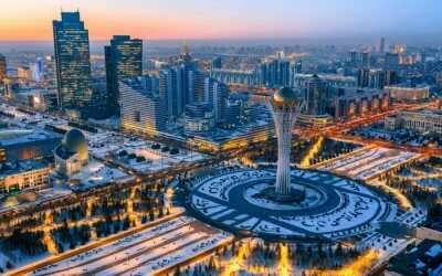 The beautiful view of Bayterek Tower in Astana in Kazakhstan