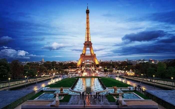 Eiffel Tower during evening