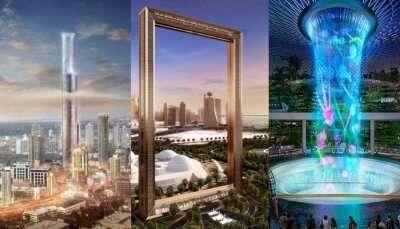 futuristic building collage