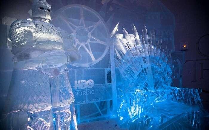 iron throne in snow village finland