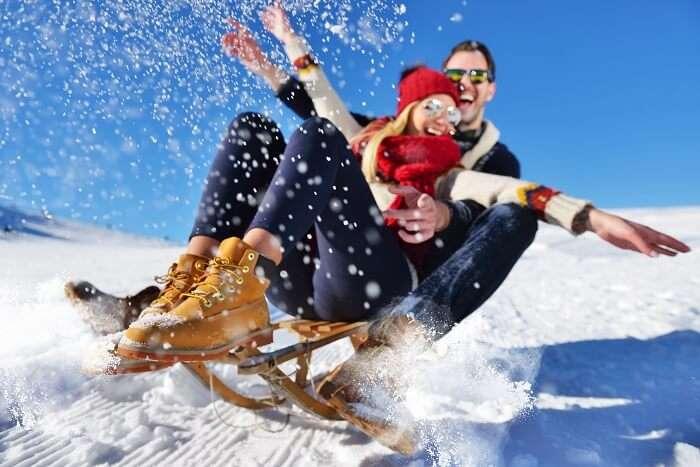 couple enjoying winter honeymoon