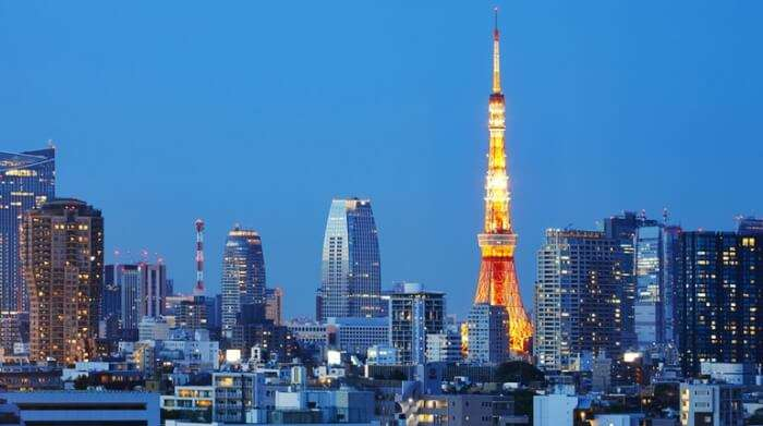 Tokyo Tower during evening