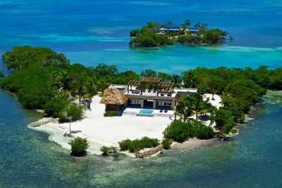 aerial view of Gladden Island Caribbean