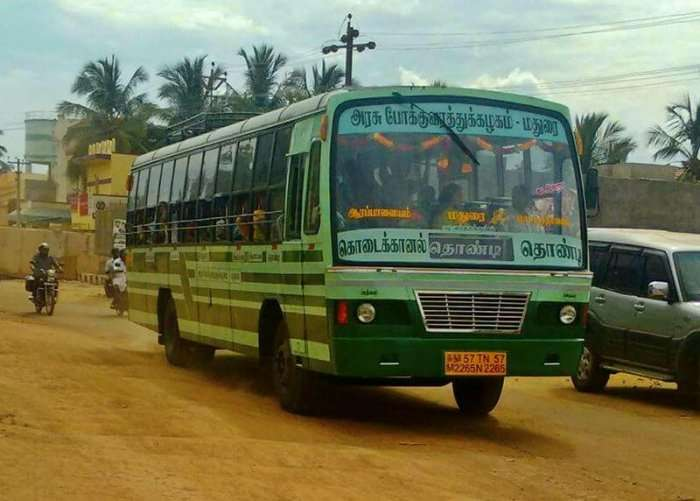 a local green bus