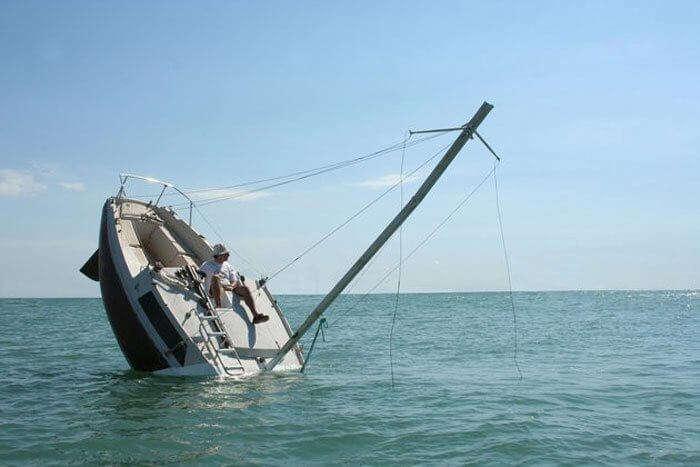 Boat sinking in the ocean