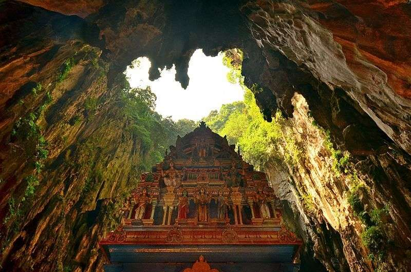 an old cave with temple in it