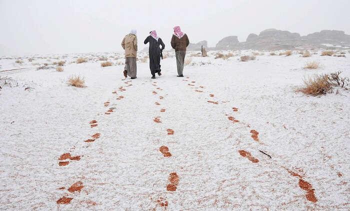 Snowfall in Saudi