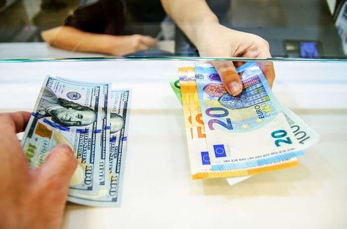 Exchange foreign currency at the bank